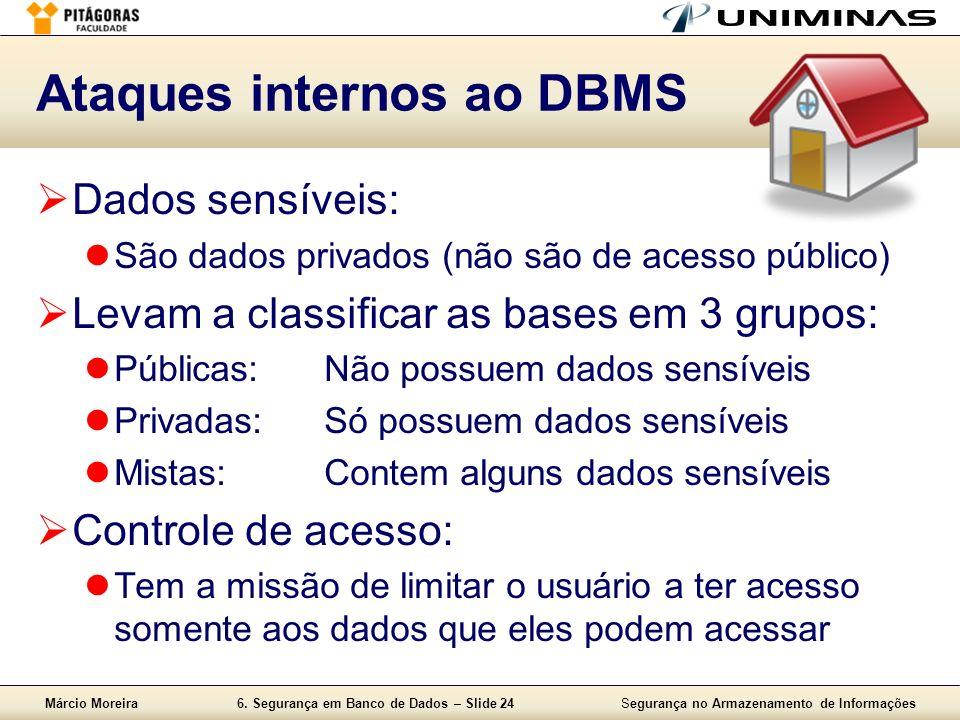 Márcio Moreira6. Segurança em Banco de Dados – Slide 24Segurança no Armazenamento de Informações Ataques internos ao DBMS Dados sensíveis: São dados p