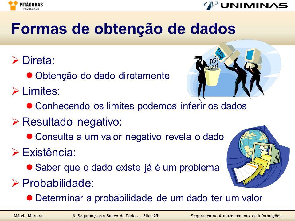 Márcio Moreira6. Segurança em Banco de Dados – Slide 25Segurança no Armazenamento de Informações Formas de obtenção de dados Direta: Obtenção do dado