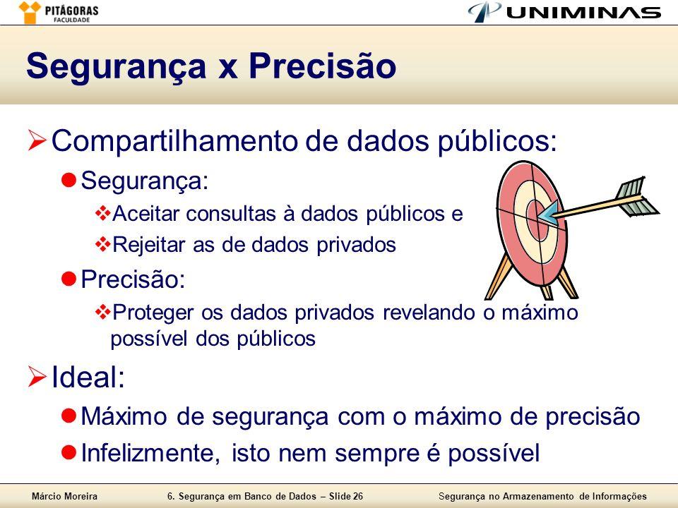 Márcio Moreira6. Segurança em Banco de Dados – Slide 26Segurança no Armazenamento de Informações Segurança x Precisão Compartilhamento de dados públic