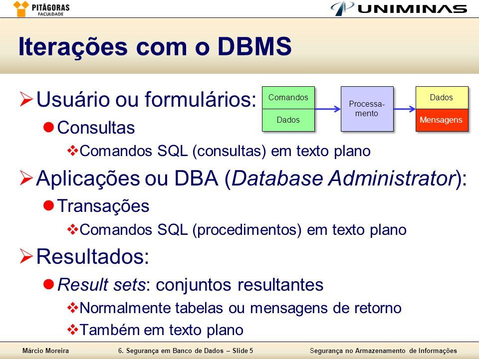 Márcio Moreira6. Segurança em Banco de Dados – Slide 5Segurança no Armazenamento de Informações Iterações com o DBMS Usuário ou formulários: Consultas