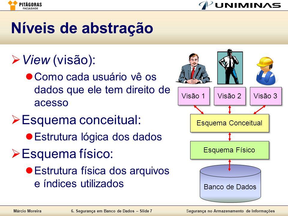 Márcio Moreira6. Segurança em Banco de Dados – Slide 7Segurança no Armazenamento de Informações Níveis de abstração View (visão): Como cada usuário vê