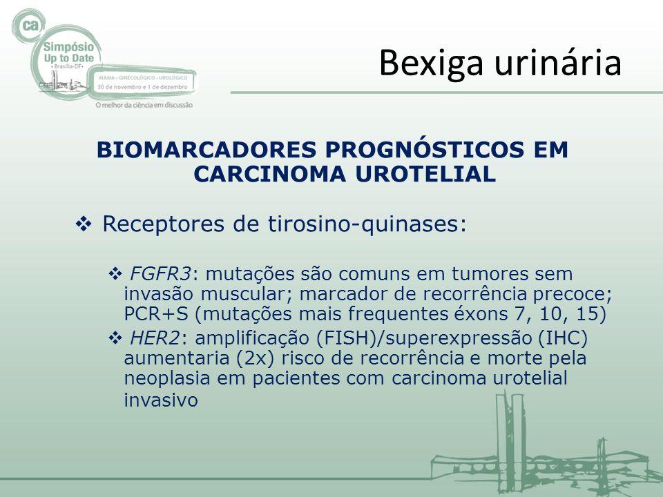 BIOMARCADORES PROGNÓSTICOS EM CARCINOMA UROTELIAL Receptores de tirosino-quinases: FGFR3: mutações são comuns em tumores sem invasão muscular; marcador de recorrência precoce; PCR+S (mutações mais frequentes éxons 7, 10, 15) HER2: amplificação (FISH)/superexpressão (IHC) aumentaria (2x) risco de recorrência e morte pela neoplasia em pacientes com carcinoma urotelial invasivo Bexiga urinária