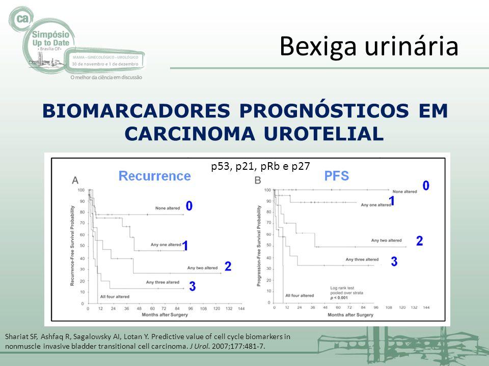 BIOMARCADORES PROGNÓSTICOS EM CARCINOMA UROTELIAL Bexiga urinária p53, p21, pRb e p27 Shariat SF, Ashfaq R, Sagalowsky AI, Lotan Y. Predictive value o
