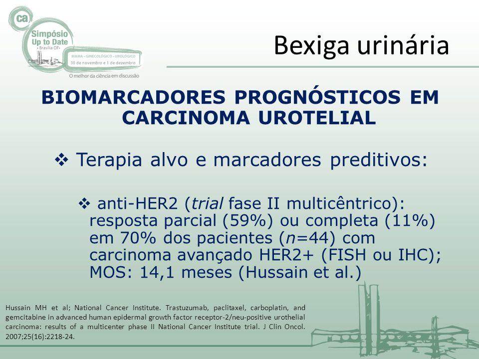 BIOMARCADORES PROGNÓSTICOS EM CARCINOMA UROTELIAL Terapia alvo e marcadores preditivos: anti-HER2 (trial fase II multicêntrico): resposta parcial (59%) ou completa (11%) em 70% dos pacientes (n=44) com carcinoma avançado HER2+ (FISH ou IHC); MOS: 14,1 meses (Hussain et al.) Bexiga urinária Hussain MH et al; National Cancer Institute.
