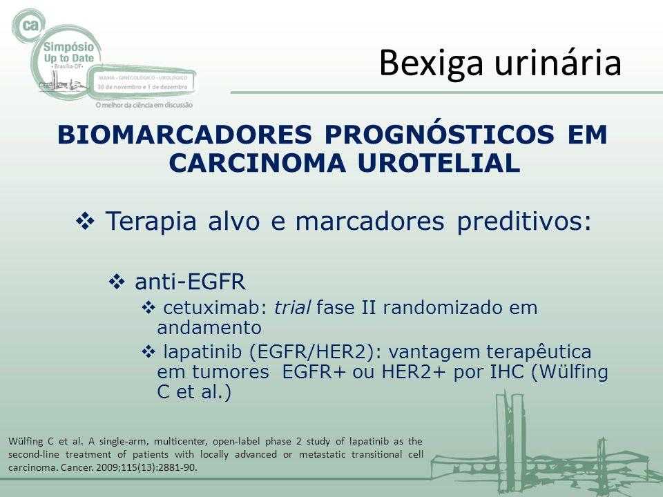 BIOMARCADORES PROGNÓSTICOS EM CARCINOMA UROTELIAL Terapia alvo e marcadores preditivos: anti-EGFR cetuximab: trial fase II randomizado em andamento lapatinib (EGFR/HER2): vantagem terapêutica em tumores EGFR+ ou HER2+ por IHC (Wülfing C et al.) Bexiga urinária Wülfing C et al.