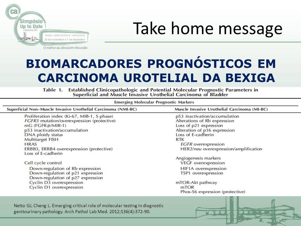 Take home message BIOMARCADORES PROGNÓSTICOS EM CARCINOMA UROTELIAL DA BEXIGA Netto GJ, Cheng L.