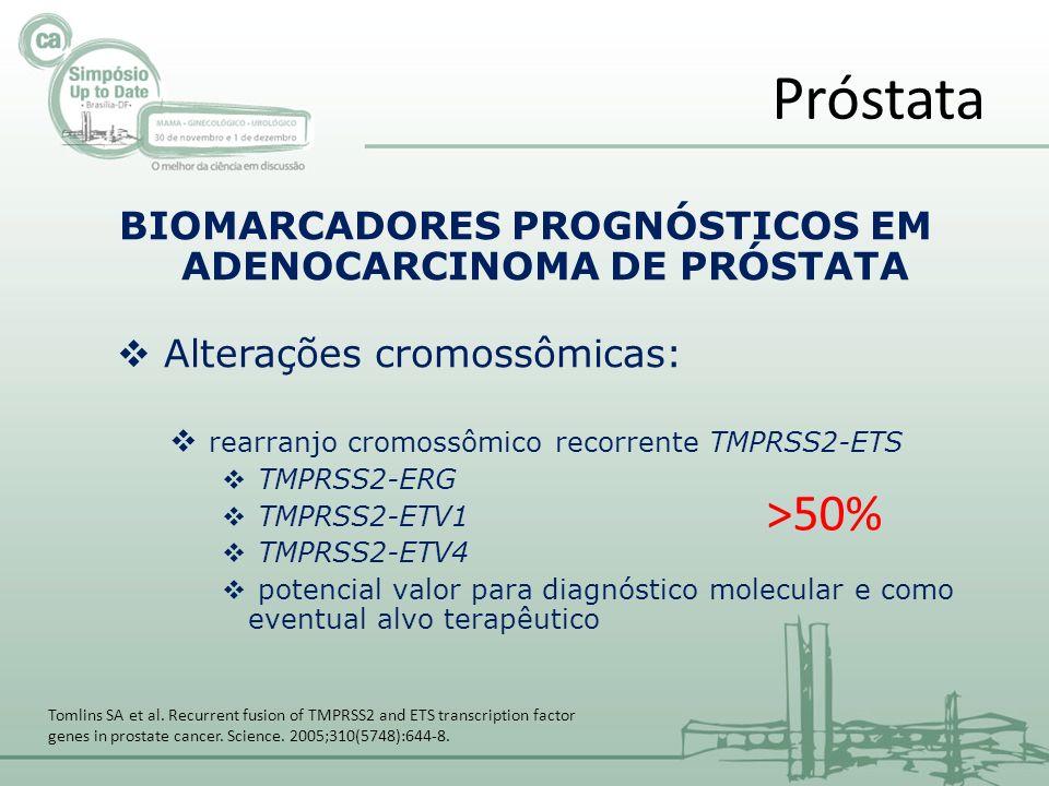 BIOMARCADORES PROGNÓSTICOS EM ADENOCARCINOMA DE PRÓSTATA Alterações cromossômicas: rearranjo cromossômico recorrente TMPRSS2-ETS TMPRSS2-ERG TMPRSS2-ETV1 TMPRSS2-ETV4 potencial valor para diagnóstico molecular e como eventual alvo terapêutico Próstata Tomlins SA et al.