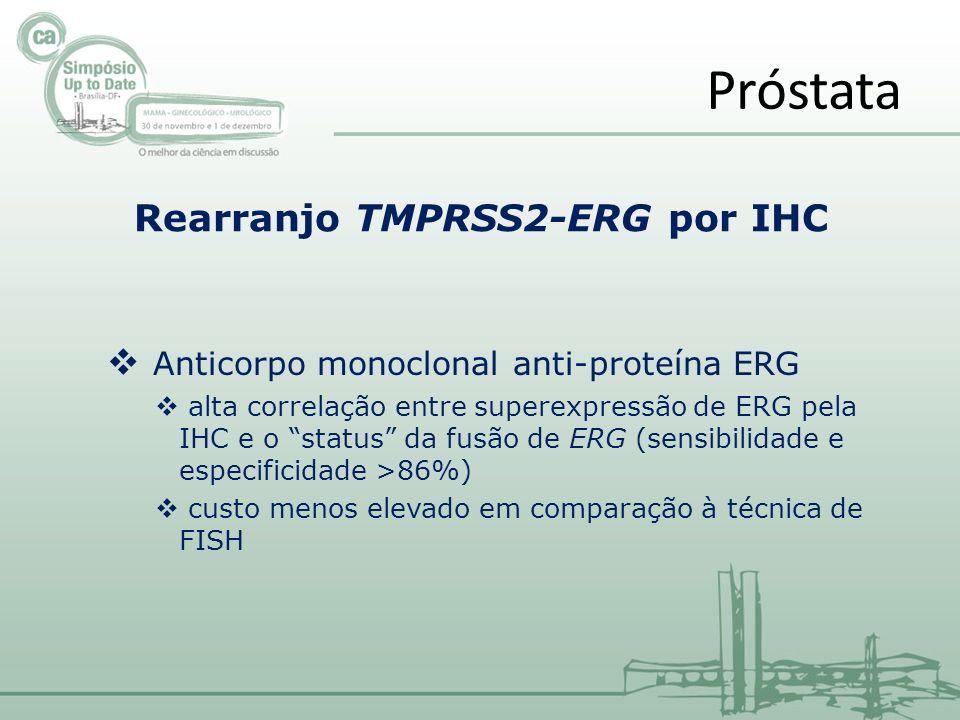 Próstata Rearranjo TMPRSS2-ERG por IHC Anticorpo monoclonal anti-proteína ERG alta correlação entre superexpressão de ERG pela IHC e o status da fusão de ERG (sensibilidade e especificidade >86%) custo menos elevado em comparação à técnica de FISH