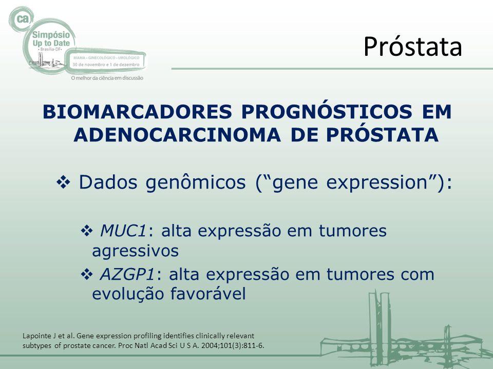 BIOMARCADORES PROGNÓSTICOS EM ADENOCARCINOMA DE PRÓSTATA Dados genômicos (gene expression): MUC1: alta expressão em tumores agressivos AZGP1: alta expressão em tumores com evolução favorável Próstata Lapointe J et al.