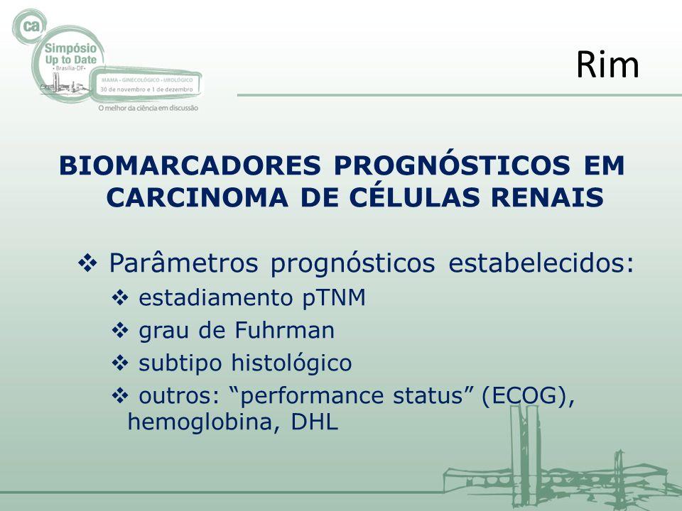 BIOMARCADORES PROGNÓSTICOS EM CARCINOMA DE CÉLULAS RENAIS Parâmetros prognósticos estabelecidos: estadiamento pTNM grau de Fuhrman subtipo histológico outros: performance status (ECOG), hemoglobina, DHL Rim