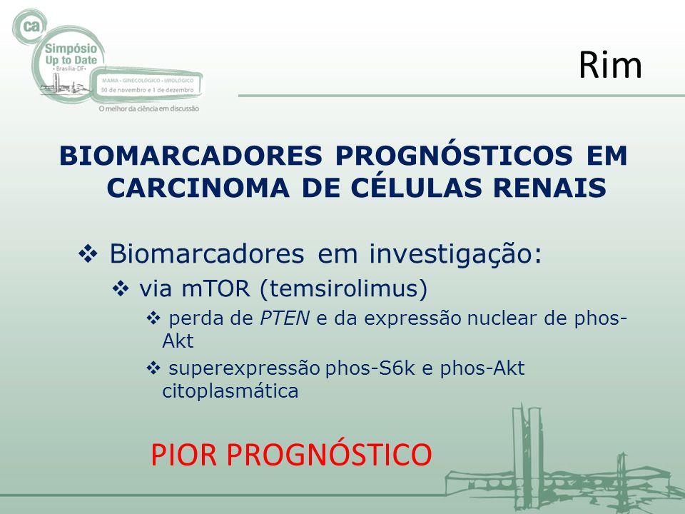 BIOMARCADORES PROGNÓSTICOS EM CARCINOMA DE CÉLULAS RENAIS Biomarcadores em investigação: via mTOR (temsirolimus) perda de PTEN e da expressão nuclear de phos- Akt superexpressão phos-S6k e phos-Akt citoplasmática Rim PIOR PROGNÓSTICO