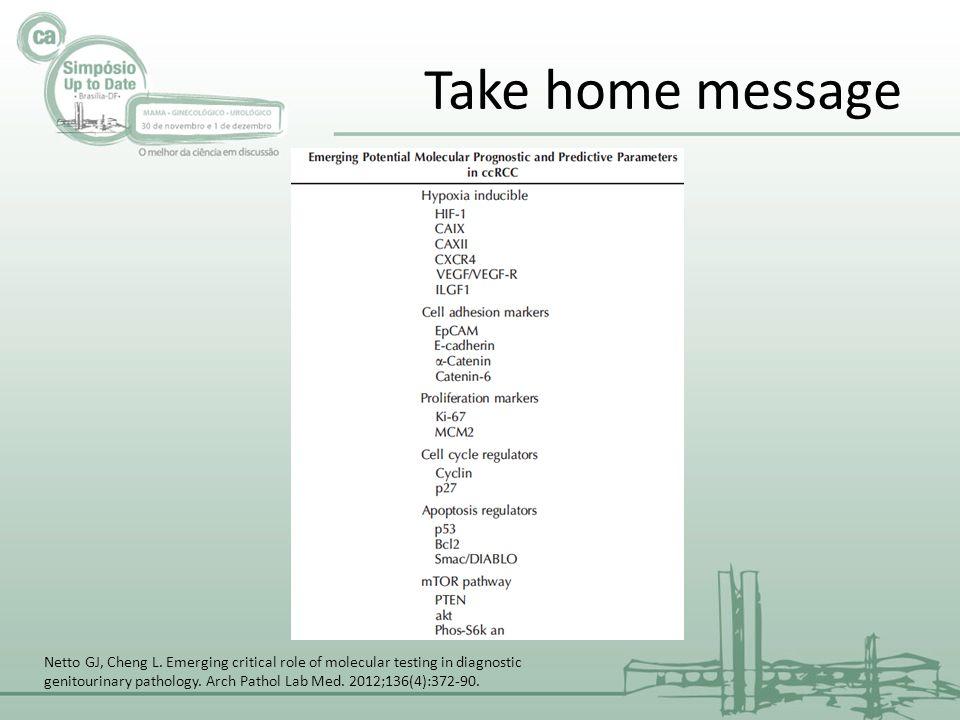Take home message Netto GJ, Cheng L.