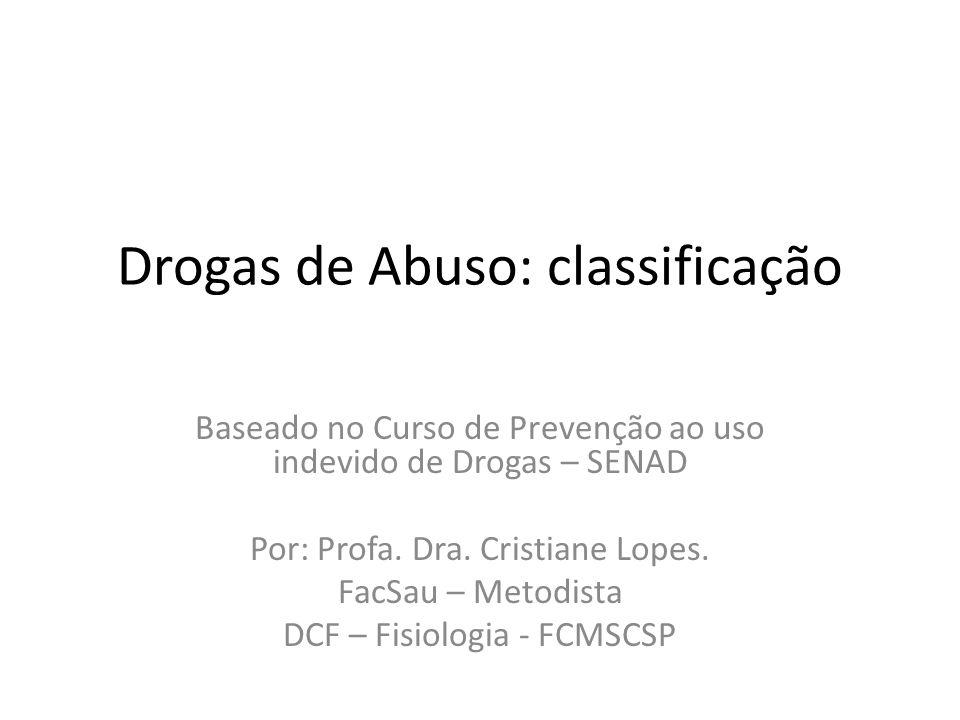 Drogas de Abuso: classificação Baseado no Curso de Prevenção ao uso indevido de Drogas – SENAD Por: Profa. Dra. Cristiane Lopes. FacSau – Metodista DC