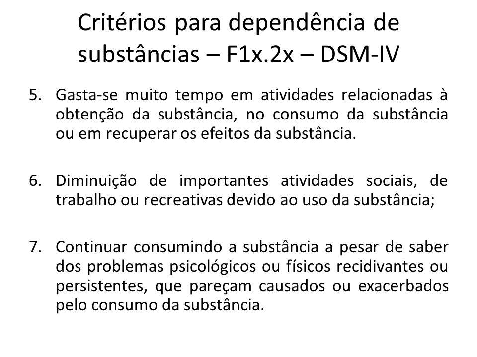 5.Gasta-se muito tempo em atividades relacionadas à obtenção da substância, no consumo da substância ou em recuperar os efeitos da substância. 6.Dimin