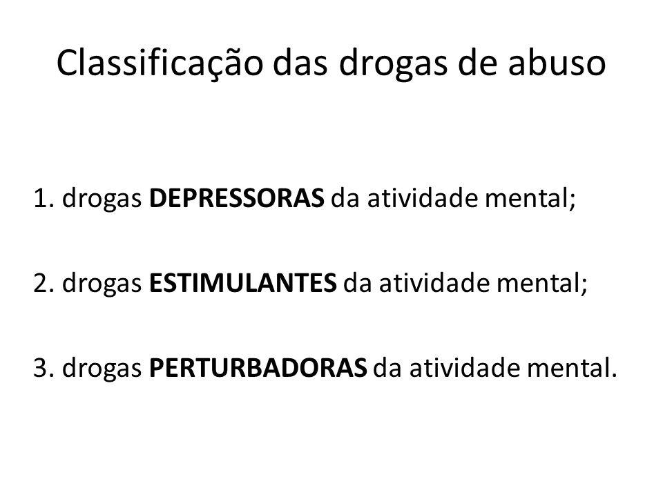 Classificação das drogas de abuso 1. drogas DEPRESSORAS da atividade mental; 2. drogas ESTIMULANTES da atividade mental; 3. drogas PERTURBADORAS da at