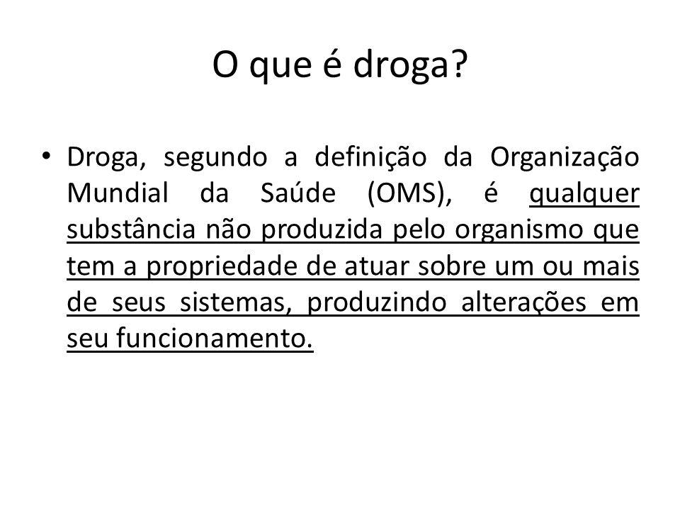 O que é droga? Droga, segundo a definição da Organização Mundial da Saúde (OMS), é qualquer substância não produzida pelo organismo que tem a propried
