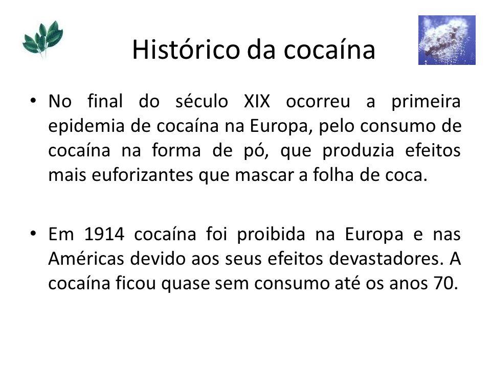 No final do século XIX ocorreu a primeira epidemia de cocaína na Europa, pelo consumo de cocaína na forma de pó, que produzia efeitos mais euforizante