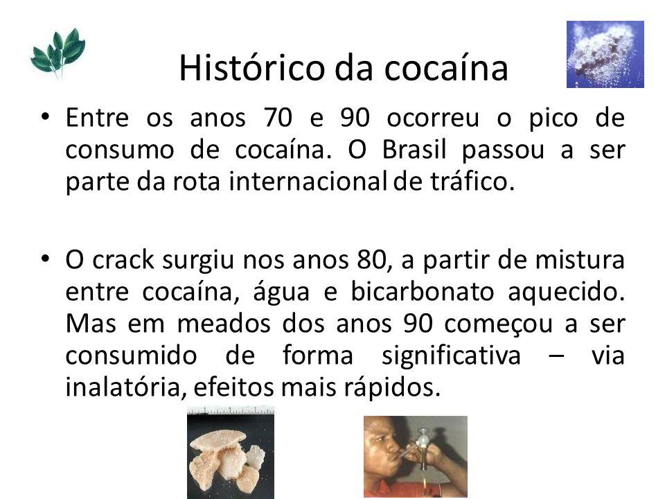 Entre os anos 70 e 90 ocorreu o pico de consumo de cocaína. O Brasil passou a ser parte da rota internacional de tráfico. O crack surgiu nos anos 80,