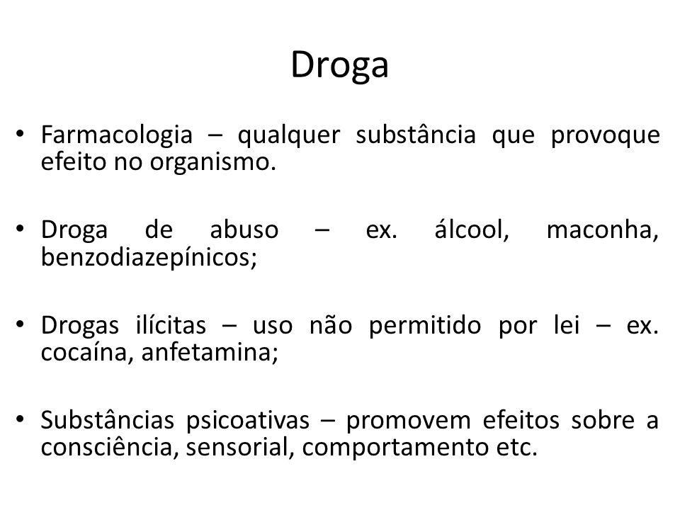Droga Farmacologia – qualquer substância que provoque efeito no organismo. Droga de abuso – ex. álcool, maconha, benzodiazepínicos; Drogas ilícitas –
