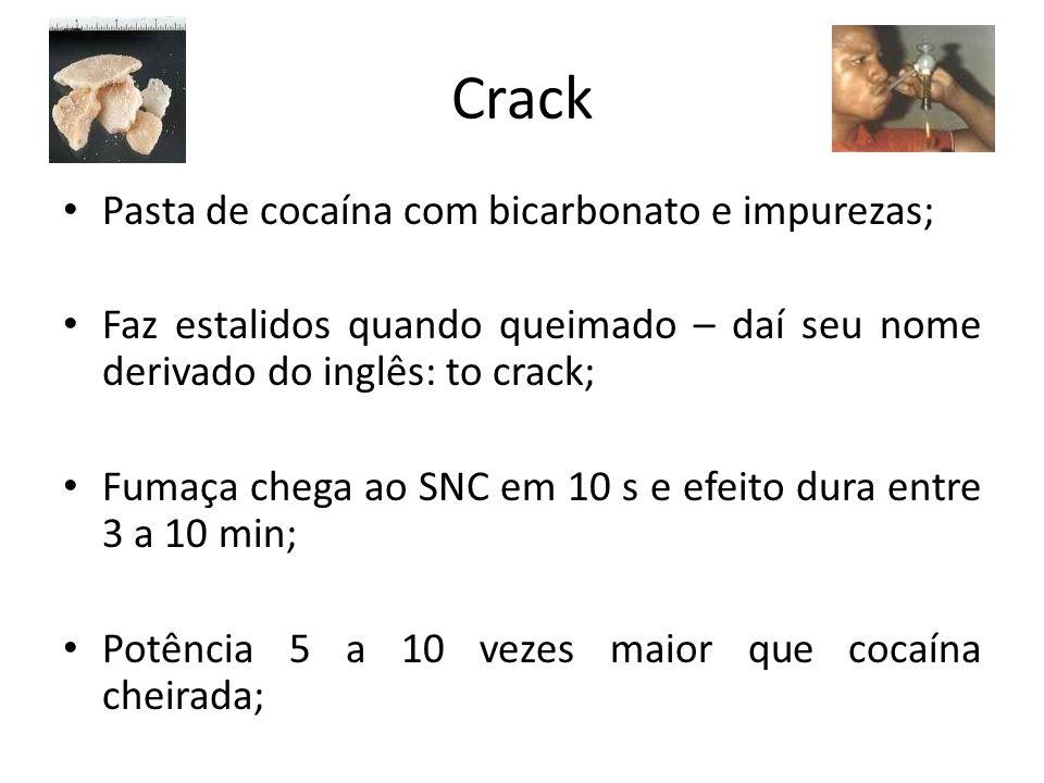Crack Pasta de cocaína com bicarbonato e impurezas; Faz estalidos quando queimado – daí seu nome derivado do inglês: to crack; Fumaça chega ao SNC em