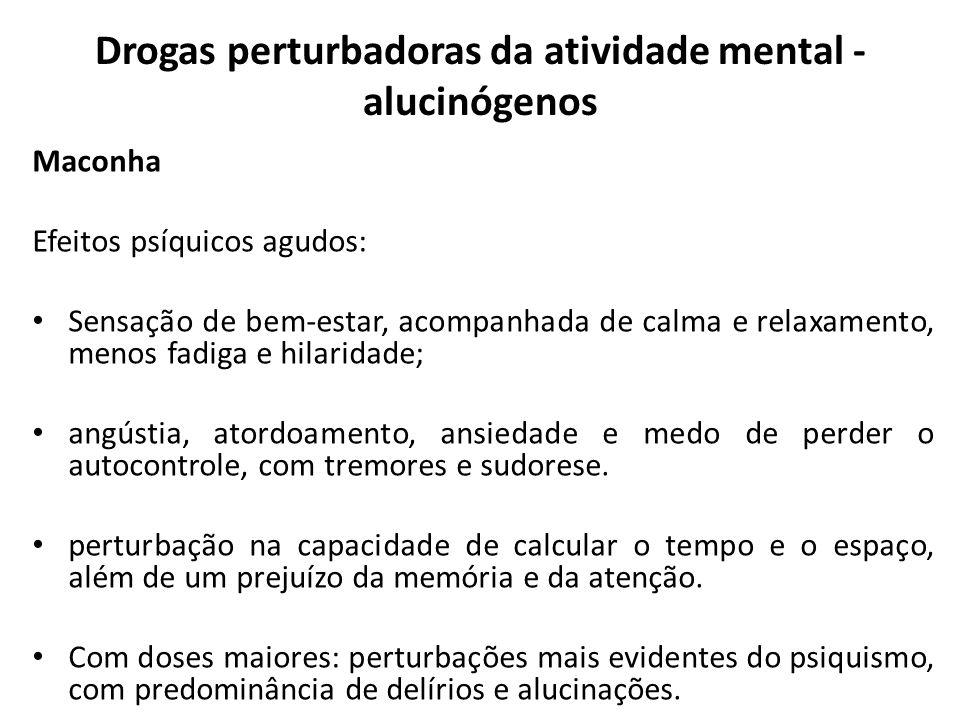 Drogas perturbadoras da atividade mental - alucinógenos Maconha Efeitos psíquicos agudos: Sensação de bem-estar, acompanhada de calma e relaxamento, m
