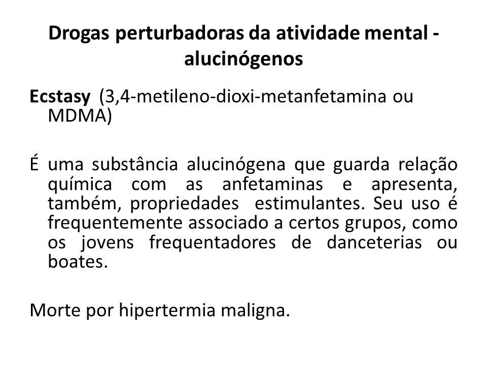 Ecstasy (3,4-metileno-dioxi-metanfetamina ou MDMA) É uma substância alucinógena que guarda relação química com as anfetaminas e apresenta, também, pro