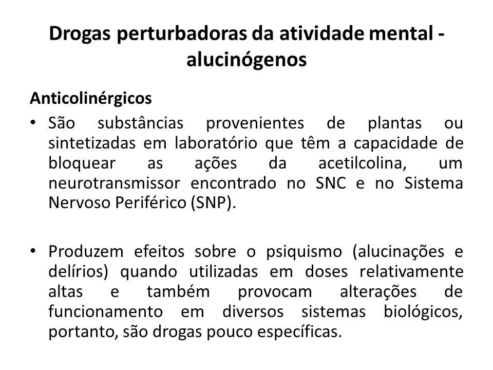 Anticolinérgicos São substâncias provenientes de plantas ou sintetizadas em laboratório que têm a capacidade de bloquear as ações da acetilcolina, um