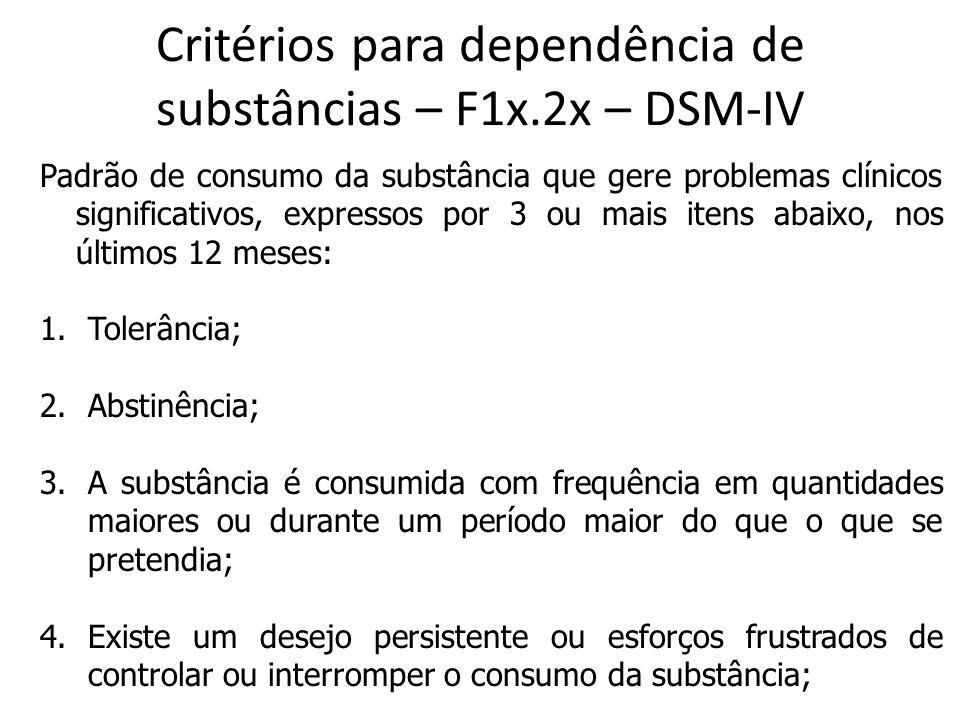 Critérios para dependência de substâncias – F1x.2x – DSM-IV Padrão de consumo da substância que gere problemas clínicos significativos, expressos por