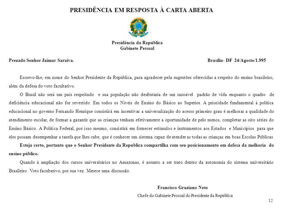 Prezado Senhor Jaimar Saraiva. Brasília- DF 24/Agosto/1.995 Escrevo-lhe, em nome do Senhor Presidente da República, para agradecer pela sugestões ofer