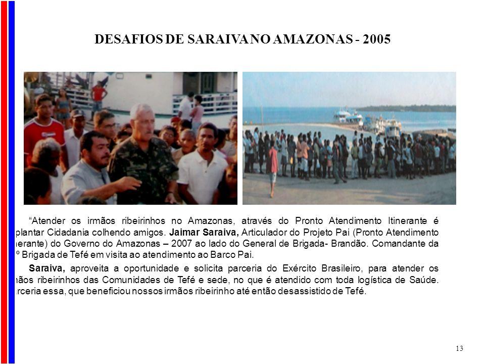 Atender os irmãos ribeirinhos no Amazonas, através do Pronto Atendimento Itinerante é implantar Cidadania colhendo amigos. Jaimar Saraiva, Articulador