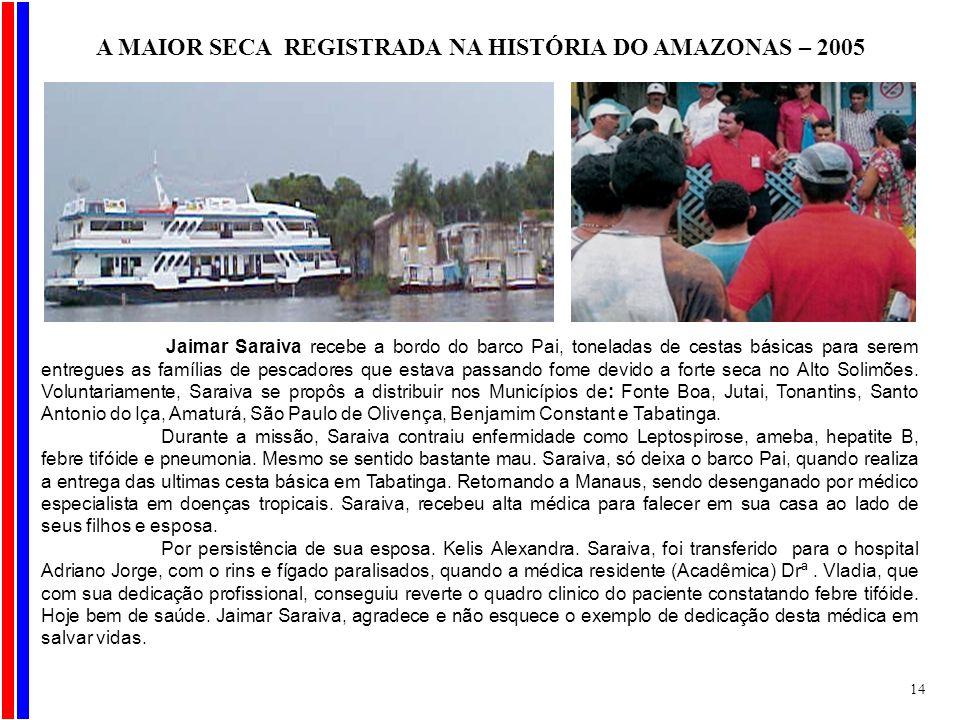 Jaimar Saraiva recebe a bordo do barco Pai, toneladas de cestas básicas para serem entregues as famílias de pescadores que estava passando fome devido