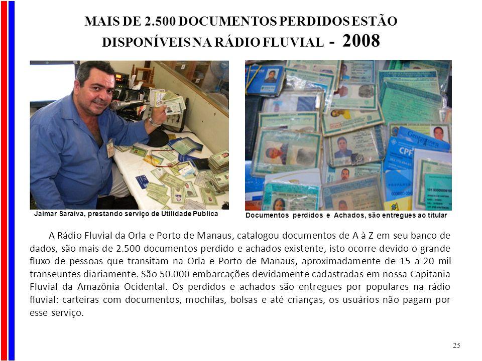A Rádio Fluvial da Orla e Porto de Manaus, catalogou documentos de A à Z em seu banco de dados, são mais de 2.500 documentos perdido e achados existen