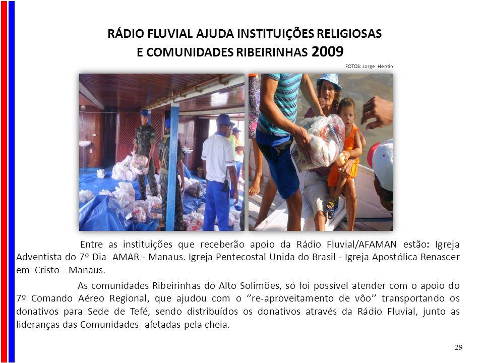 Entre as instituições que receberão apoio da Rádio Fluvial/AFAMAN estão: Igreja Adventista do 7º Dia AMAR - Manaus. Igreja Pentecostal Unida do Brasil