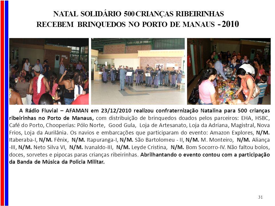 A Rádio Fluvial – AFAMAN em 23/12/2010 realizou confraternização Natalina para 500 crianças ribeirinhas no Porto de Manaus, com distribuição de brinqu