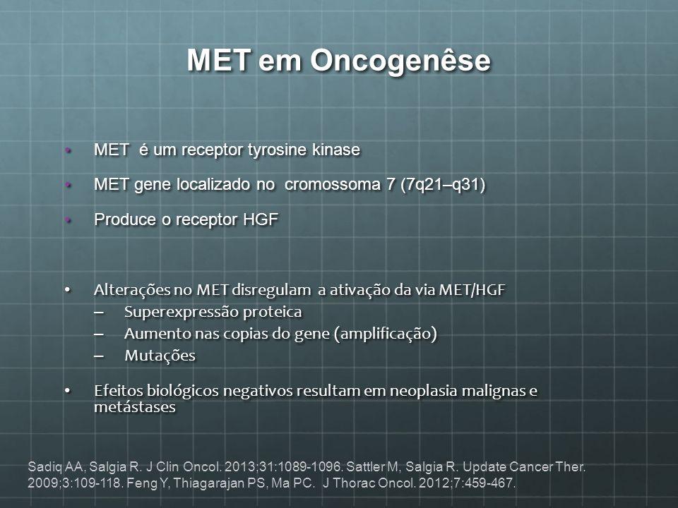 MET em Oncogenêse MET é um receptor tyrosine kinaseMET é um receptor tyrosine kinase MET gene localizado no cromossoma 7 (7q21–q31)MET gene localizado