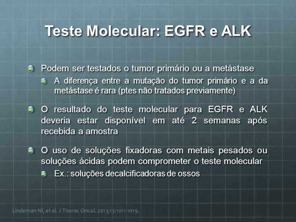 Teste Molecular: EGFR e ALK Podem ser testados o tumor primário ou a metástase A diferença entre a mutação do tumor primário e a da metástase é rara (