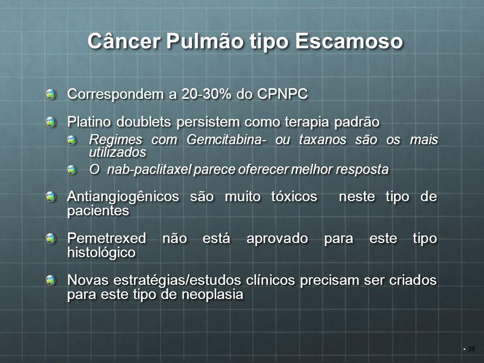Câncer Pulmão tipo Escamoso Câncer Pulmão tipo Escamoso Correspondem a 20-30% do CPNPC Platino doublets persistem como terapia padrão Regimes com Gemc