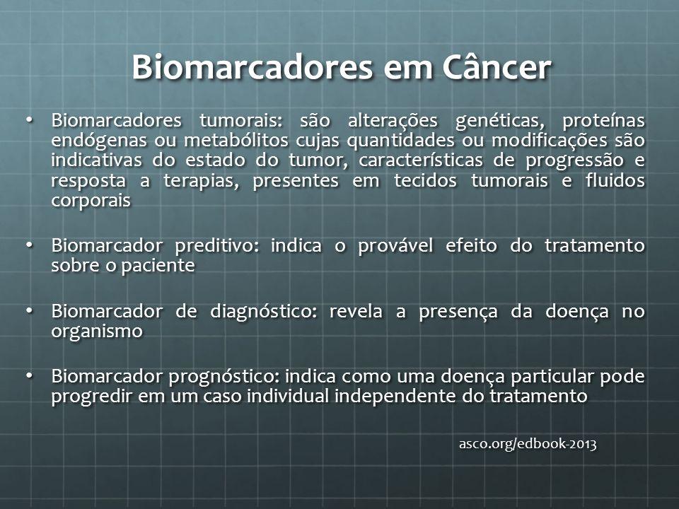 Biomarcadores em Câncer Biomarcadores tumorais: são alterações genéticas, proteínas endógenas ou metabólitos cujas quantidades ou modificações são ind