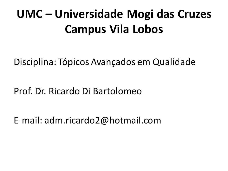 UMC – Universidade Mogi das Cruzes Campus Vila Lobos Disciplina: Tópicos Avançados em Qualidade Prof. Dr. Ricardo Di Bartolomeo E-mail: adm.ricardo2@h
