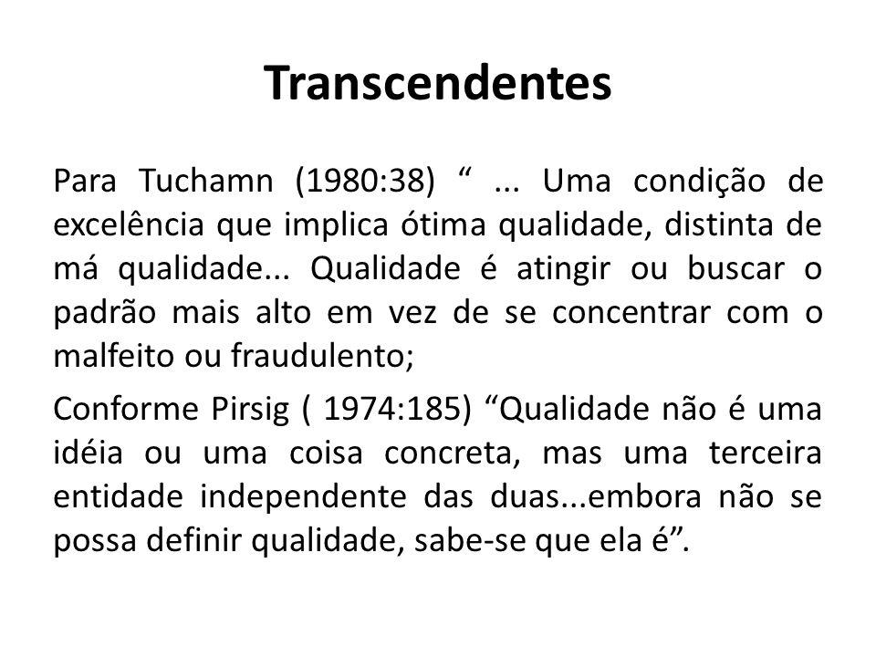Transcendentes Para Tuchamn (1980:38)... Uma condição de excelência que implica ótima qualidade, distinta de má qualidade... Qualidade é atingir ou bu