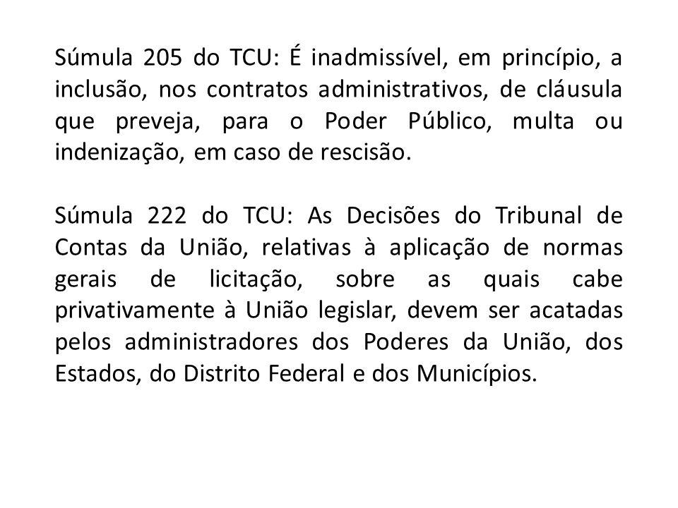 Súmula 205 do TCU: É inadmissível, em princípio, a inclusão, nos contratos administrativos, de cláusula que preveja, para o Poder Público, multa ou in