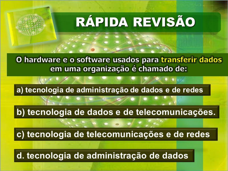 RÁPIDA REVISÃO a) tecnologia de administração de dados e de redes b) tecnologia de dados e de telecomunicações.