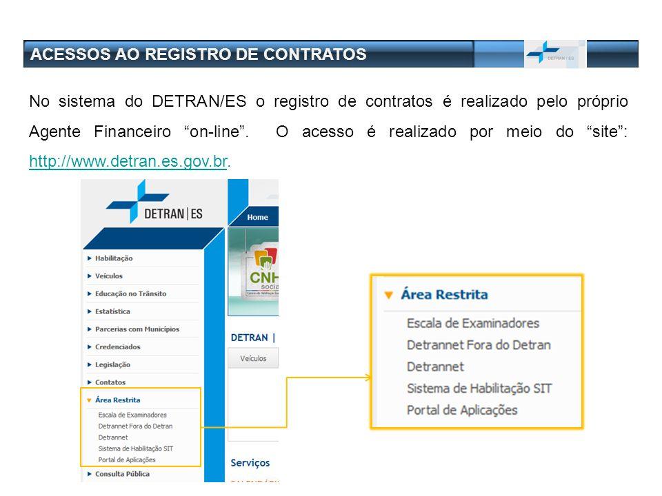 ACESSOS AO REGISTRO DE CONTRATOS No sistema do DETRAN/ES o registro de contratos é realizado pelo próprio Agente Financeiro on-line. O acesso é realiz