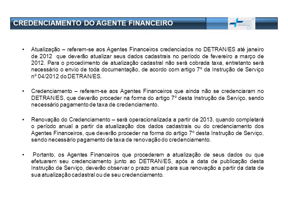 CREDENCIAMENTO DO AGENTE FINANCEIRO Atualização – referem-se aos Agentes Financeiros credenciados no DETRAN/ES até janeiro de 2012 que deverão atualiz