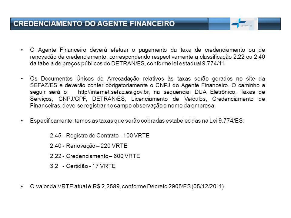 CREDENCIAMENTO DO AGENTE FINANCEIRO O Agente Financeiro deverá efetuar o pagamento da taxa de credenciamento ou de renovação de credenciamento, corres