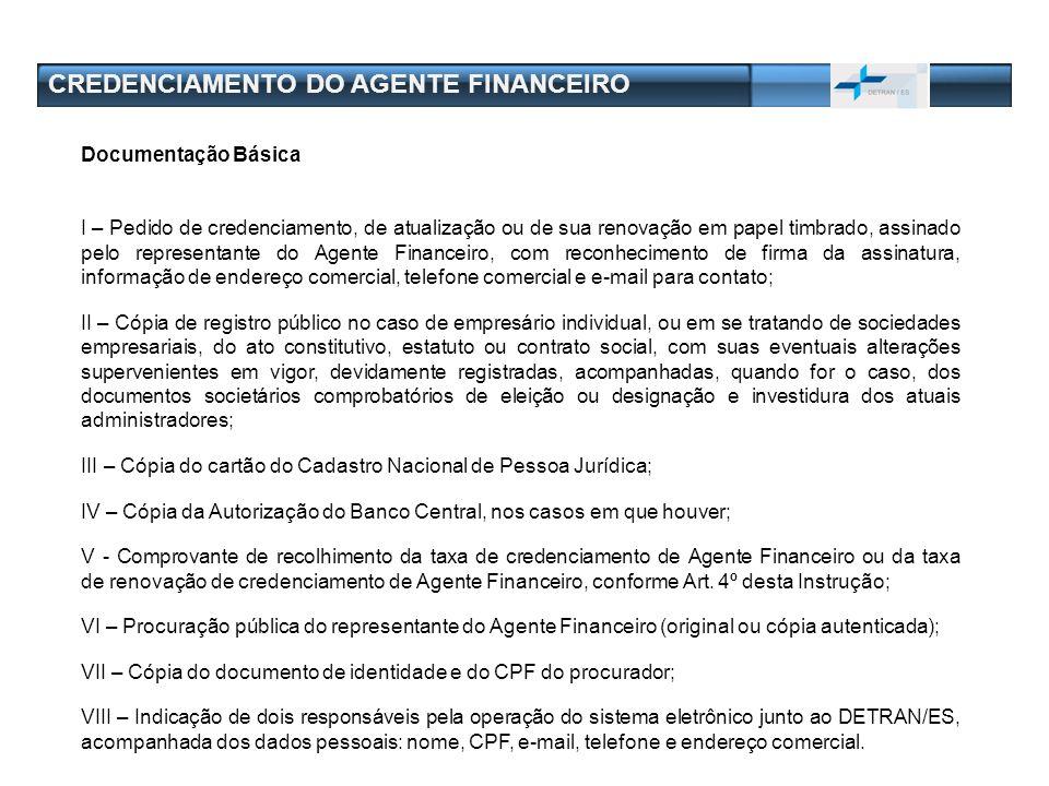 CREDENCIAMENTO DO AGENTE FINANCEIRO Documentação Básica I – Pedido de credenciamento, de atualização ou de sua renovação em papel timbrado, assinado p