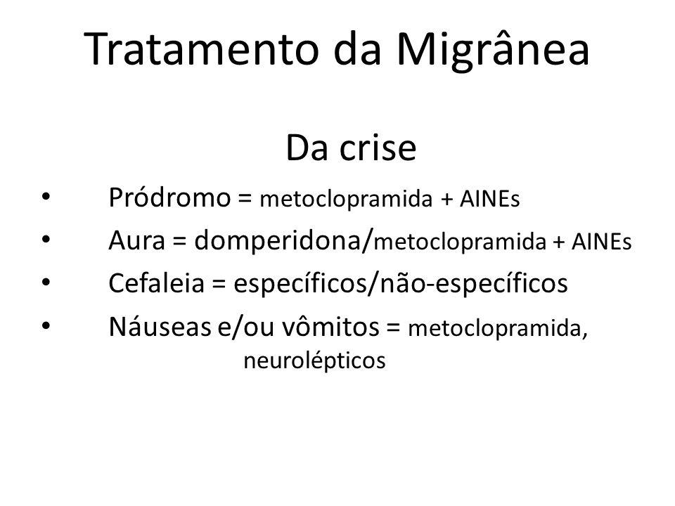 Tratamento da Migrânea Da crise Pródromo = metoclopramida + AINEs Aura = domperidona/ metoclopramida + AINEs Cefaleia = específicos/não-específicos Náuseas e/ou vômitos = metoclopramida, neurolépticos