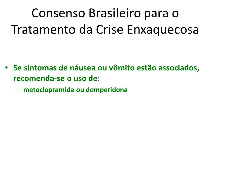 Consenso Brasileiro para o Tratamento da Crise Enxaquecosa Se sintomas de náusea ou vômito estão associados, recomenda-se o uso de: – metoclopramida o