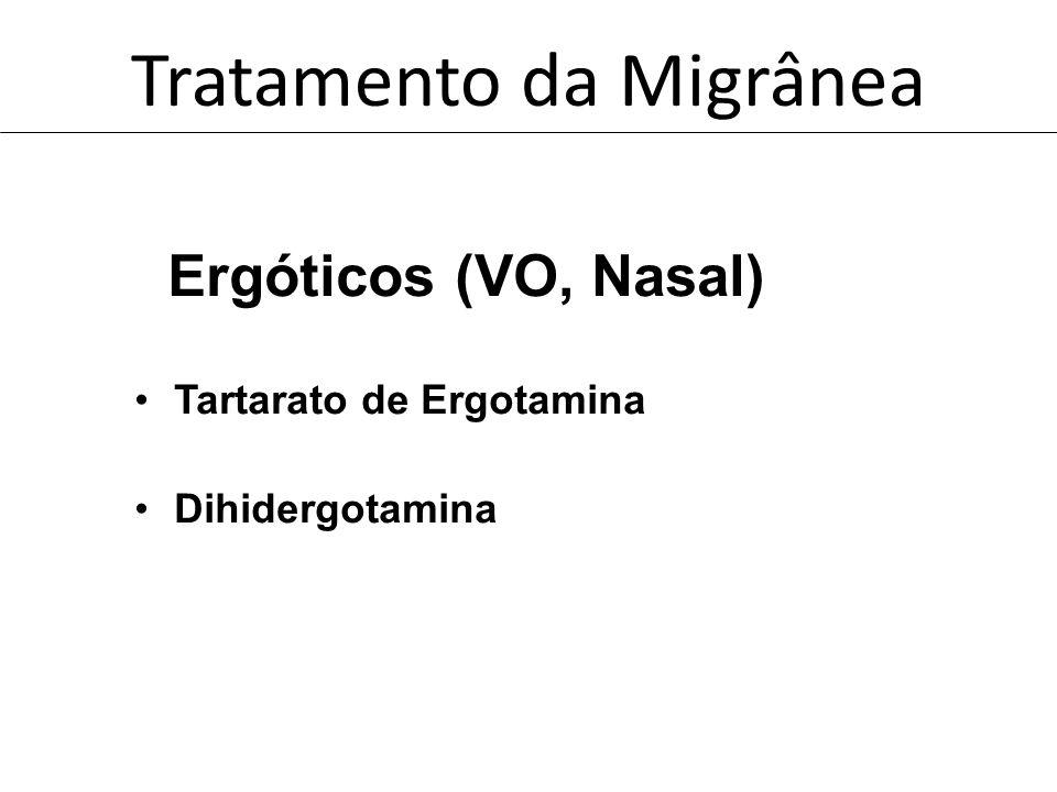 Tratamento da Migrânea Ergóticos (VO, Nasal) Tartarato de Ergotamina Dihidergotamina