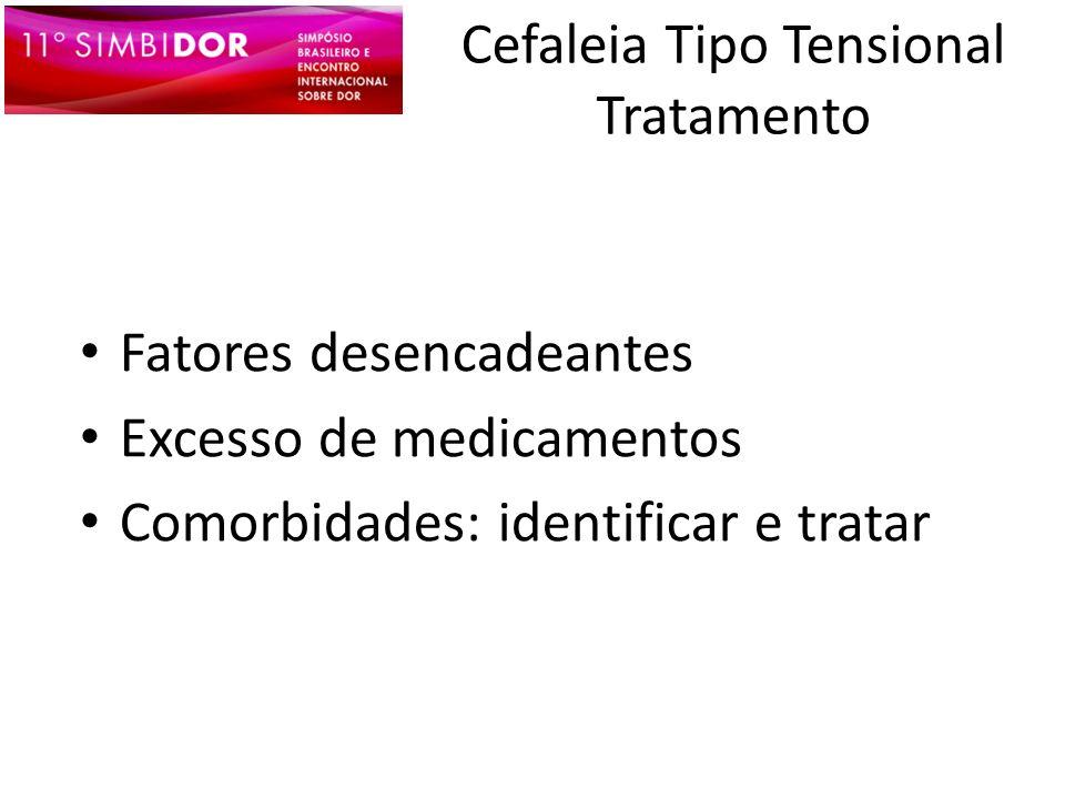 Cefaleia Tipo Tensional Tratamento Fatores desencadeantes Excesso de medicamentos Comorbidades: identificar e tratar